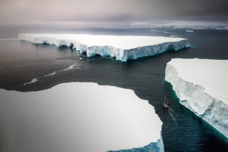 Sailing through huge icebergs